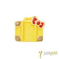 【Just Gold 鎮金店】Hello Kitty 旅行家純金系列 黃金單耳耳環-行李