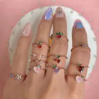 11ชิ้น/เซ็ตหวานคริสตัลApple Strawberryเชอร์รี่องุ่นผีเสื้อแหวนผลไม้น่ารักแหวนทองชุดเครื่องประดับขอ...