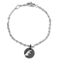 【agnes b.】圓形雕空黑恐龍墜飾手鍊(銀X黑)