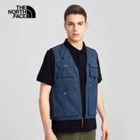【The North Face】北面男款藍色防潑水多口袋工裝背心|4UBVWC4