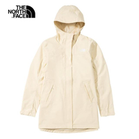 【The North Face】The North Face北面女款米白色防水透氣連帽衝鋒衣 4NEHRB6