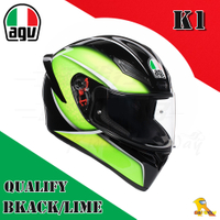 ~任我行騎士部品~AGV K1 亞洲版日規 單鏡片 全罩 安全帽 #QUALIFY BLACK LIME