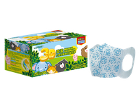 萊潔 動物家族立體型 兒童醫療防護口罩-藍色印花(50片入/盒裝)(衛生用品,恕不退貨,無法接受者勿下單)