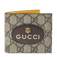 【GUCCI 古馳】473954 GG Supreme虎頭短夾(棕X黃色-8卡)