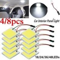 4/8PCS อุปกรณ์ตกแต่งภายในรถ18/24/36/48 SMD T10 4W 12V COB รถแผงไฟ LED ภายในรถโดมรถหลอดไฟ