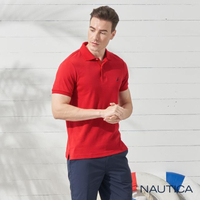 【NAUTICA】簡約素色純棉短袖POLO衫(紅色)