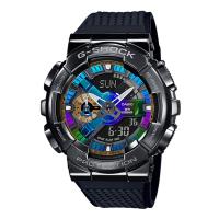 CASIO G-SHOCK 全金屬外殼 高質感雙顯電子腕錶GM-110B-1A (黑X彩)