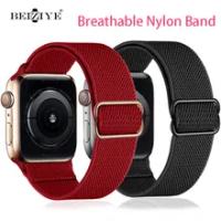 ไนลอนยืดหยุ่น Solo Loop สำหรับ Apple Watch Band 42มม.44มม.38มม.40มม.ปรับได้สำหรับ IWatch Series SE 6 5 4 Watchband