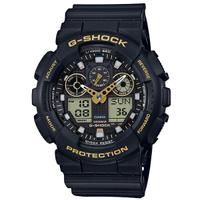【CASIO 卡西歐】G-SHOCK 簡約時尚潮流雙顯腕錶-黑x金(GA-100GBX-1A9)