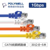 POLYWELL CAT6 高速網路線 30公分~5米 CAT.6 網路線 RJ45 福祿克認證 寶利威爾 台灣現貨