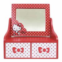 小禮堂 Hello Kitty 木製桌上型化妝鏡雙抽收納盒《紅白.點點》抽屜盒.木製櫃.置物盒