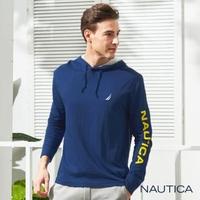 【NAUTICA】休閒海洋圖騰連帽長袖T恤(深藍)