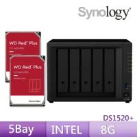 【搭WD 12TB x2】Synology 群暉科技 DS1520+ 5Bay 網路儲存伺服器