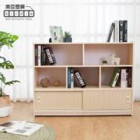 【南亞塑鋼】3.9尺開放式5格雙拉門塑鋼書櫃/防水收納櫃/教具櫃(白橡色)
