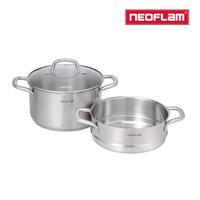 【NEOFLAM】不銹鋼316湯鍋24cm+蒸籠(含玻璃蓋)
