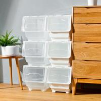 Mr.box【024108】29大面寬典雅斜口上掀式可堆疊附輪加厚收納箱(33公升-6入組)-純白、透明,兩款可選