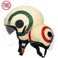 現貨美國TORC夏季摩托車頭盔男女復古半盔雙鏡片機車頭盔電動車安全帽机车