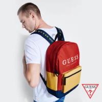 【GUESS】時尚撞色經典LOGO後背包-紅(NL742398MMT)
