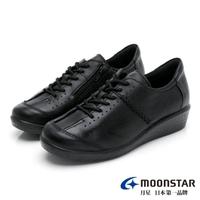 【MOONSTAR 月星】雙鞋墊系列-天然皮革綁帶休閒鞋(黑)