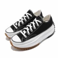 【CONVERSE】帆布鞋 Run Star Hike 男女鞋 低筒 潮流 鋸齒鞋 厚底 星星 情侶 黑 白(168816C)