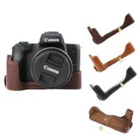 New Genuine Leather Camera Case Bag For Canon EOS M50 M50 II EOS M50 Mark II Half Body Cover Open battery Black Coffee Brown