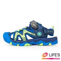 LOTTO樂得-義大利第一品牌 童款護趾戶外健走運動涼鞋 [1936] 藍【巷子屋】