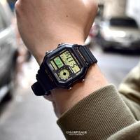 CASIO手錶 方形黑金地圖電子錶【NEC157】