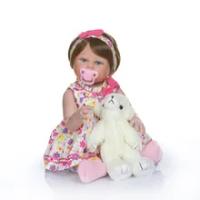 NPK 48 Cm BEBE Boneka Reborn Gadis Balita Full Body Silikon Bath Toy 100% Tangan Terperinci Paiting Pinky Lihat