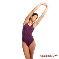 【SPEEDO】女 運動連身泳裝 Boomstar AL(黑/電氣粉紅)