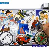 24Pcsตลกการผจญภัยการ์ตูนTintinสไตล์สติ๊กเกอร์ของเล่นสำหรับเด็กDIYกระเป๋าเดินทางแล็ปท็อปโทรศัพท์...