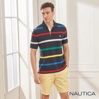 【NAUTICA】清新細條紋短袖POLO衫(深藍)