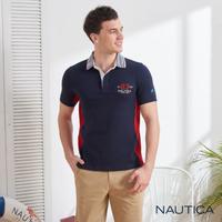 【NAUTICA】立體修身條紋領短袖POLO衫(深藍)