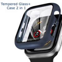 แก้ว + ฝาครอบสำหรับ Apple Watch Case 6/SE/5/4/3/2/1 IWatch 42มม.38มม.กันชนกระจกนิรภัยสำหรับ Apple Watch 44มม.40มม.42มม.38มม.