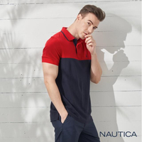 【NAUTICA】簡約素色純棉短袖POLO衫(紅藍)