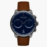 刷卡滿3千回饋5%點數|Nordgreen Pioneer先鋒 玫瑰金系列藍面復古棕真皮腕錶42mm(PI42RGLEBRNA)