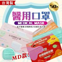 台灣國際生醫 醫療口罩-50入盒裝/成人-兒童 平面MD款