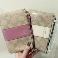 【COACH】 logo燙金 防刮皮革 鑰匙零錢包/手拿包/經典手拿包 乾燥玫瑰粉 莓粉色 情人節 禮物