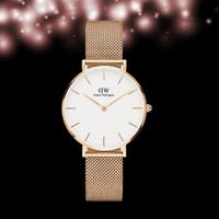 買一送一(COACH牛年限定女錶, 好禮三選一)【海外代購】DW Daniel Wellington DW 經典時尚米蘭編織錶帶手錶-玫瑰金/白/32mm DW00100163