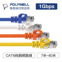 POLYWELL CAT6 高速網路線 7米~40米 CAT.6 網路線 RJ45 福祿克認證 寶利威爾 台灣現貨