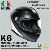 任我行騎士部品 AGV K6 極輕量化 通風 舒適 全新設計 全罩式安全帽 MINIMAL 消光黑白紅 K-6