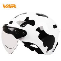 VAR乳牛奶牛成人電動摩托車復古哈雷頭盔夏季男女式安全帽