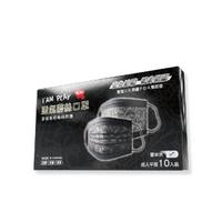 【IAM PLAY】蕾絲黑 成人平面式口罩 10入(三層式熔噴布)