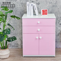 【南亞塑鋼】防水2.1尺二抽二門塑鋼收納櫃/窗邊置物櫃/組合櫃(白色+粉紅色)