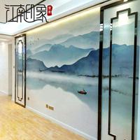 壁畫 8d中式水墨山水牆紙客廳壁畫牆布電視背景牆壁紙