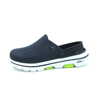 SKECHERS GO WALK 5 洞洞鞋 水鞋 布希鞋 拖鞋 大LOGO 深藍色 男生尺寸【243010NVY】