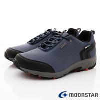 ◍零碼◍日本月星Moonstar機能男鞋戶外多功能系列4E寬楦防水透濕健走鞋款027灰藍(男段)