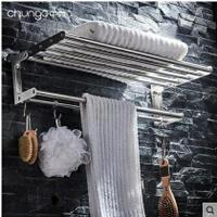 304不銹鋼拉絲摺疊浴巾架浴室掛件雙層毛巾架衛生間置物架免打孔 8號時光