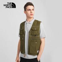 【The North Face】北面男款綠色防潑水多口袋工裝背心|4UBV37U