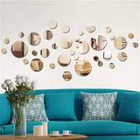 new products 1Set 3D Mirror Round Removable Self Adhesive Wall Sticker Wallpaper Home Decor Fashion mirror stickers