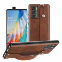 Wrist Strap Hand Band Case for LG Wing Luxury Leather Phone Cover Shell Full Protection Coque for LG Wing Phone Accessories